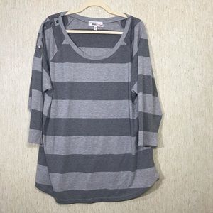 DEREK HEART Plus Gray on Gray Scoop neck Tunic, 3X